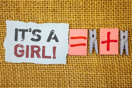words writing textss It Is A Girl Motivational Call. Business concept for Female baby coming Gender reveal Celebration
