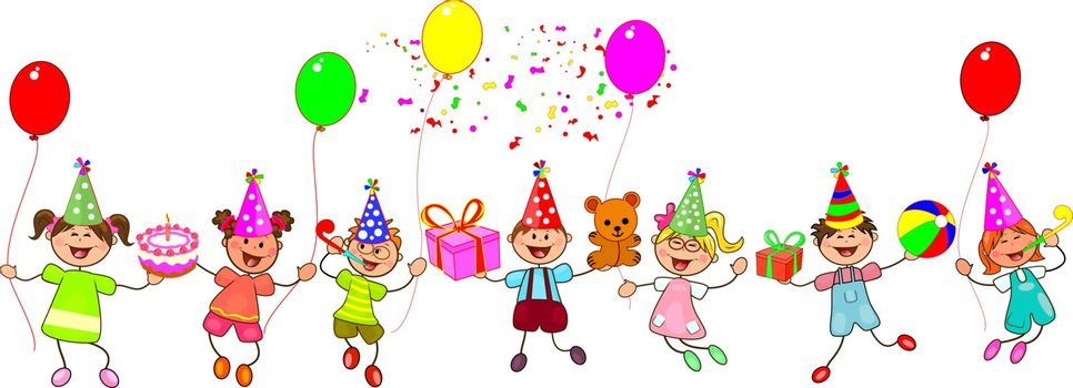 Group of children with gifts and balloons. Happy children with gifts on a white background. Children congratulate on Happy Birthday. Cartoon of joyful children.