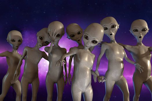 huge group of gray aliens 3d illustration