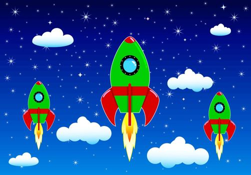 Space rockets on a background of blue sky , stars and clouds.