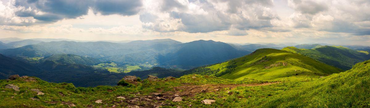 panorama of great Carpathian water dividing ridge