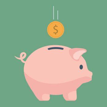 Pink piggy bank. The concept of saving money or open a bank deposit. Investments in future. Isolated vector illustration piggy bank in flat style.