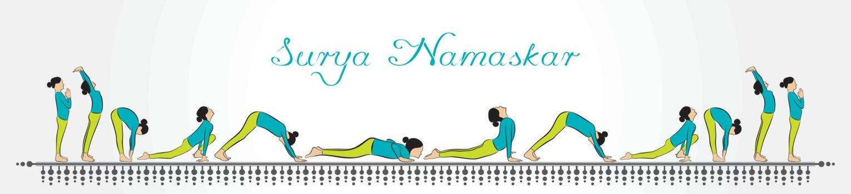 illustration of woman doing SURYA NAMASKAR for International Yoga Day