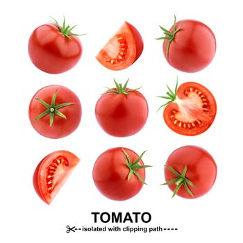 Tomatoes isolated on white background with clipping path. Collection