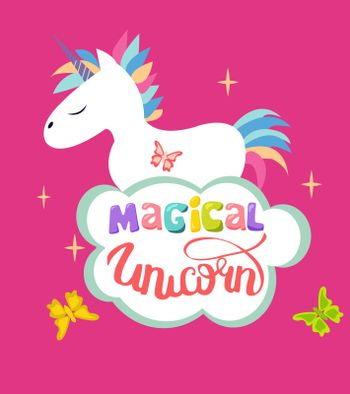 Cute Magical Unicorn isolated on pink background and text magical unicorn. Design can be used for greeting cards, posters and party invitations