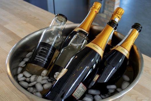 Wine and apple juice bottles in ice bucket