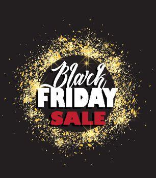 Vector illustration Black Friday Sale background golden glitter texture, invitation, posters, brochure, banners