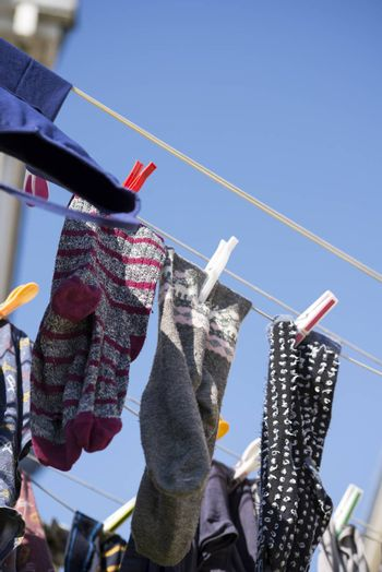 washing line with clothes out to dry