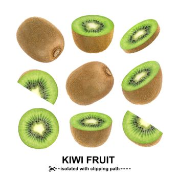 Kiwi isolated on white background with clipping path. Collection