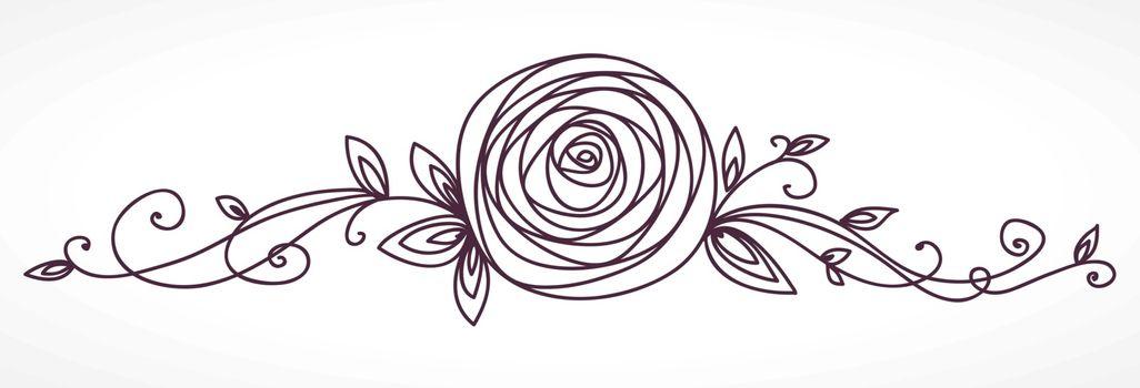 Rose flower. Decorative floral elegant design element