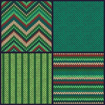 Seamless knitted pattern. Set of green red color backgrounds.