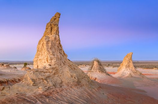 Three Horns in cool dawn light, desert sculpted by weather and climate.  They are a mix of sticky clays and sand.  Outback N/SW Australia