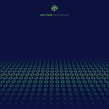 Abstract technology halftone green border circles perspective on blue background with copy space. Vector illustration