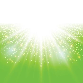 sunlight effect sparkle on green background with glitter copy space. Abstract vector illustration