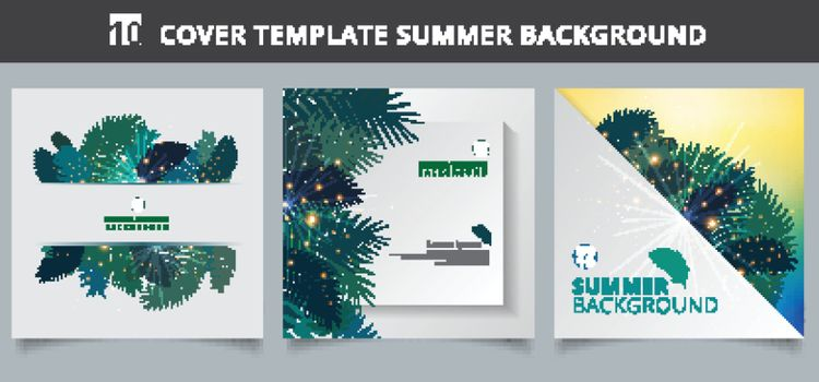 Template brochure cover summer tropical with exotic palm leaves or plants and lighting effect on white paper background. Vector illustration