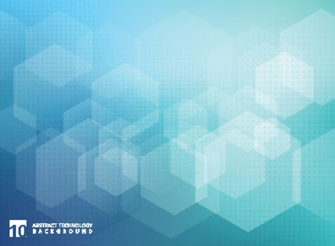 Abstract geometric hexagon overlay pattern on blue background. Technology template with copy space. Vector illustration