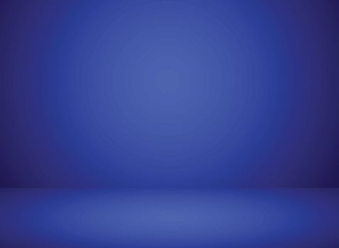 Studio room interior blue color background with lighting effect. Vector illustration