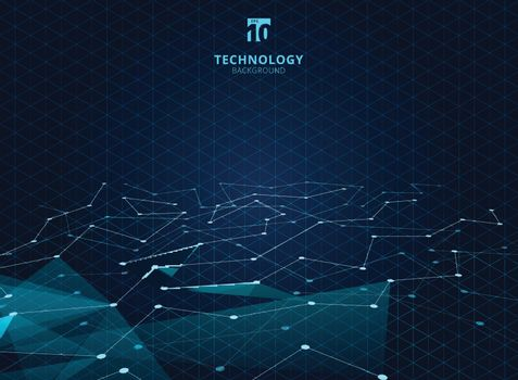 Abstract technology blue color triangles and low polygon with lines connecting dots structure perspective on grid background. Vector illustration