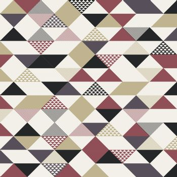 Abstract retro style triangles pattern with lines diagonally gold, black, red color on white background. Vector illustration