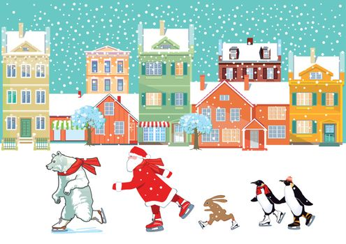 Santa Claus with polar bear, penguin and bunny skating, illustration