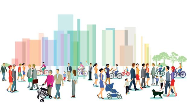City with groups of people, illustration