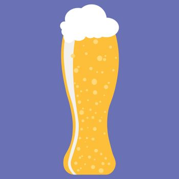 Glass of beer. Light beer with foam in glass isolated. Flat style vector illustration.