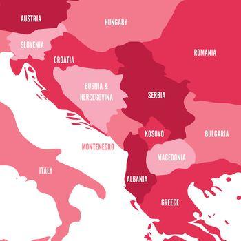 Political map of Balkans - States of Balkan Peninsula. Four shades of pink vector illustration