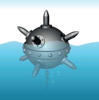 Naval mine vector illustration on sea background