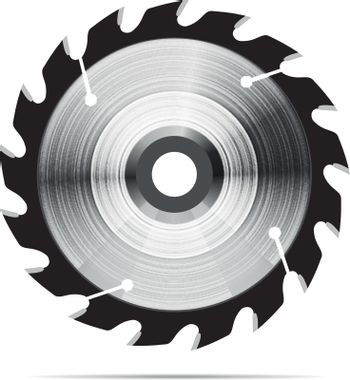Circular saw blade on white background. Vector illustration