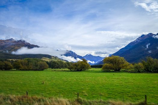 New Zealand countryside and mountains landscape