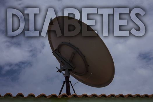 Conceptual hand writing showing Diabetes. Business photo text Chronic disease associated to high levels of sugar glucose in blood Ideas messages television antenna cloudy sky old city house