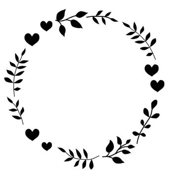 Doodle monochrome heart and leaf circle frame on a black background. Wreath of leaves. Ready template for design, postcards, printing