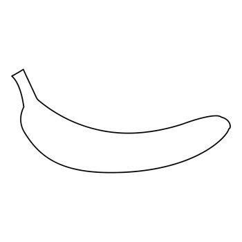 Banana black color path icon .