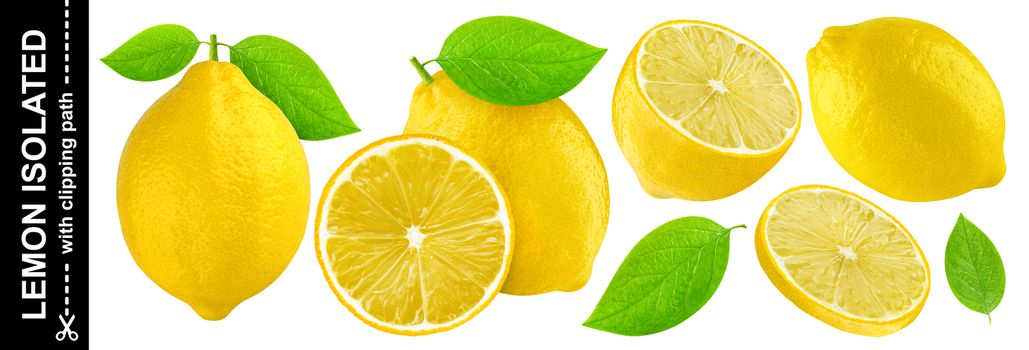 Lemon isolated on white background with clipping path