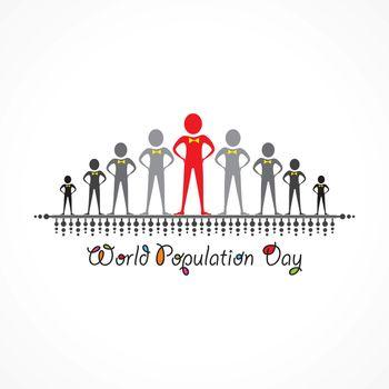 Illustration,Poster Or banner for World Population day