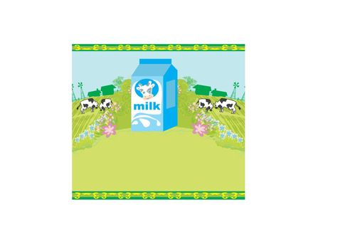 Abstract poster with a carton of milk and cows graze in the mead