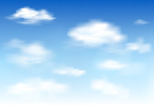 White clouds on the blue sky . Abstract background with clouds on blue sky. Blue sky and white clouds.