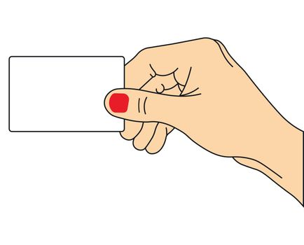 illustration of hand holding empty card on white background