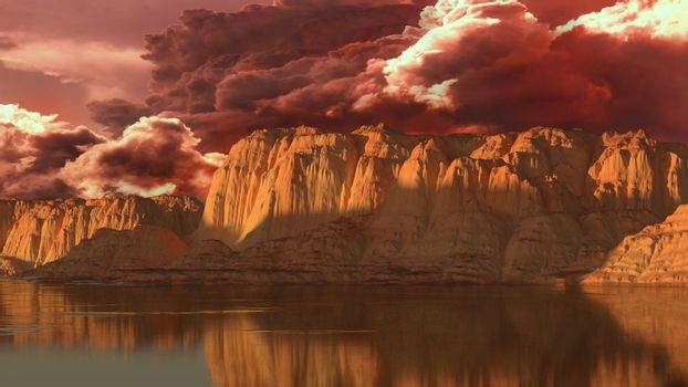 Unreal landscape of rocks, lake and clouds. 3D rendering.