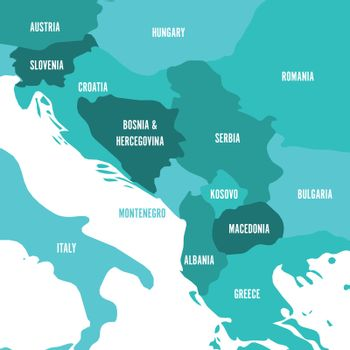 Political map of Balkans - States of Balkan Peninsula. Four shades of turquoise blue vector illustration