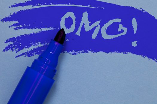 Writing note showing Omg Motivational Call. Business photo showcasing Oh my good abbreviation Modern Astonishment expression Bold blue marker colouring sketch work type idea text plain background