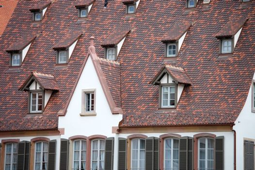 The facades of old buildings in Europe