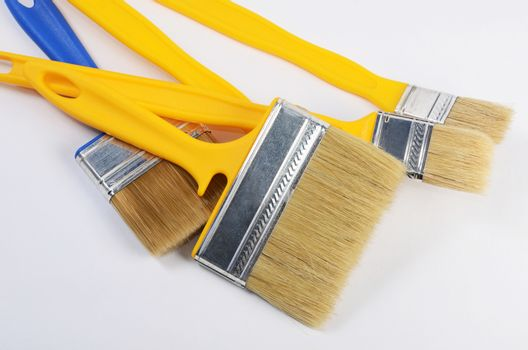 The yellow a brush for painting paint