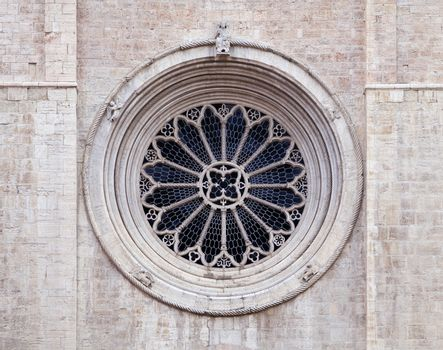 Gothic rose window of Trento cathedral, Northern Italy