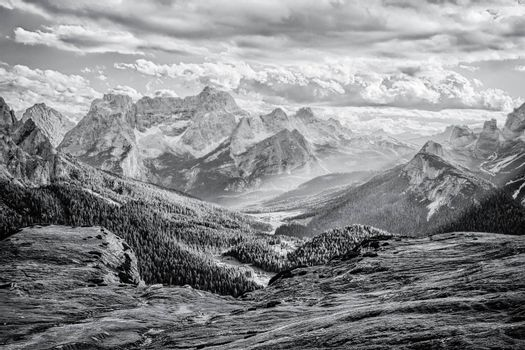 Valley in Dolomite Alps, black and white landscape