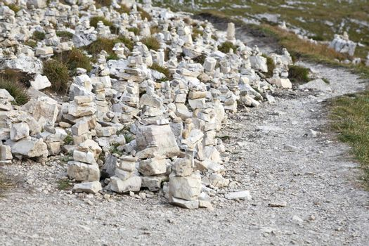 Numerous manmade stone pyramides in Dolomite Alps