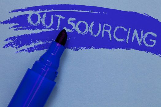 Writing note showing Outsourcing. Business photo showcasing Obtain goods or service by contract from an outside supplier Bold blue marker colouring sketch work type idea text plain background