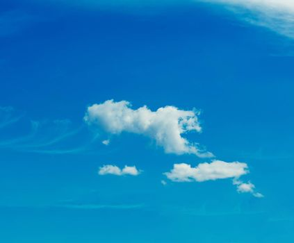 One simple cloud on sky in summer sunny day clean concept