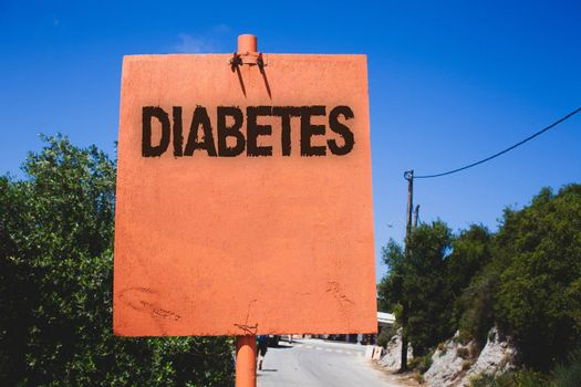 Conceptual hand writing showing Diabetes. Business photo text Chronic disease associated to high levels of sugar glucose in blood Wooden board post ideas blue sky trees antique vintage landscape
