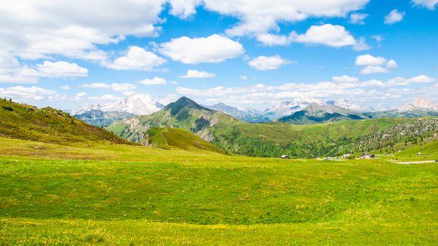 Landscape of Dolomites with Marmolada and Piz Boe